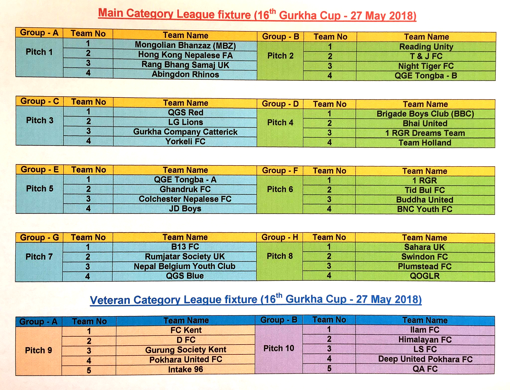 GURKHA CUP 2018 TEAM DRAW